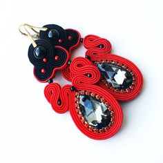Great gift for soutache lovers. Dangle Earrings – Amazing Black and red earrings – a unique product by Moniq-Monika via en.DaWanda.com