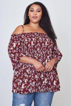 2050271931c Ladies Plus Size Floral Print Shirred Bust Cold Shoulder Top  fashion   clothing  shoes