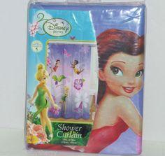 Disney Tinker Bell Fairies Shower Curtain Bathroom Kids NIP