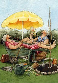 Lovely old ladies by Inge Look ~ Inge Löök (real name Ingeborg Lievonen) is a Finnish artist born in Helsinki in 1951