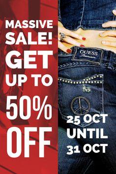 Massive Sale! Get up to 50% Off! Sale starts 25 October 2017 Sale ends 31 October 2017  #3rdBaseUrban #MassiveSale #50Off #Fashion #Shopping #Guess #BenSherman #IKKS #Diesel #SissyBoy #Gant #GStarRaw #PalladiumBoots #ReplayJeans #Levis #PoloSouthAfrica