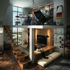 Habitación y sala en casa con techado elevado