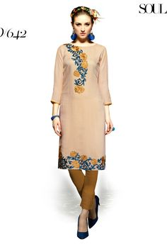 Designer party wear reyon brown kurti with embroidery work 642