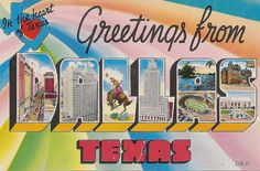 Greetings from Dallas Texas TX Large Letter vintage postcard