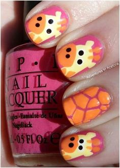 Giraffe Nails!!! Perfect for little girls - - Bellashoot.com #AnimalNails #Orangenails #Kidnails #Manicure