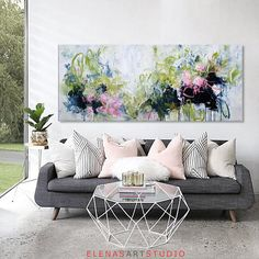 Large abstract original painting square grey gold blue modern