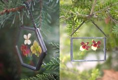 This Christmas, we're hanging a reminder of summertime gardens on our tree with these tiny botanical frame ornaments.