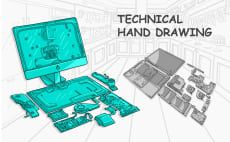do Technical Hand drawn Illustration