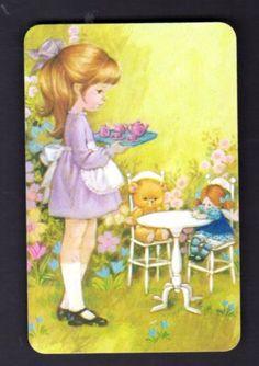 70s-Vintage-Swap-Card-Cute-Girl-Having-Tea-Party-BLANK-BACK
