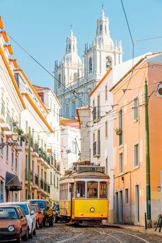 Yellow Tram On The Narrow Street Of Alfama District In Lisbon Portugal Photograp , Cool Places To Visit, Places To Travel, Places To Go, Best Holiday Destinations, Amazing Destinations, Holidays In April, Visit Portugal, Train Journey, Going On Holiday