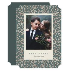 Merry Gold Photo Card - wedding thank you gifts cards stamps postcards marriage thankyou