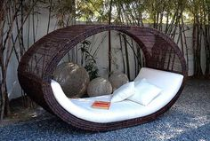 Outdoor Sofa-bed Rocker admired by our rattan furniture designers. Outdoor Sofa, Outdoor Spaces, Outdoor Living, Outdoor Seating, Indoor Outdoor, Garden Seating, Outdoor Decor, Garden Furniture, Cool Furniture