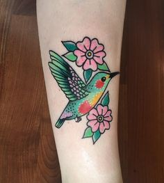 Hummingbird done by Gina Medlock @ High Hands Tattoo in ABQ New Mexico
