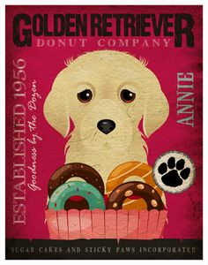 Golden Retriever Donut Original Art Print - Personalized Dog Breed Illustration -11x14- Customize with Your Dog's Name - Dogs Incorporated. via Etsy.