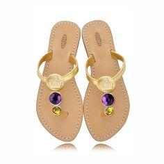 LSU Tigers Ladies Jewel Embellished Flat Sandals-With Large Purple Jewel and Small yellow Jewel