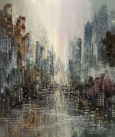 Dark grey city skyline painting canvas print of original goth