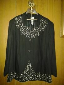 "R  v pretty jacket 4her with silver flower ,beads f 4 $24.99 size 32w chest 62"" waist 60"" hip 70"