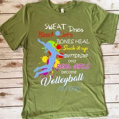 Only Real Girls Become Volleyball Players 157 Great volleyball t shirt/mug/bag gift for family, friends, volleyball players, volleyball lovers or any women, men, girls, boys you know who loves volleyball. - get yours by clicking the link in my profile bio. Volleyball Pictures, Volleyball Players, Great T Shirts, Gifts For Family, Boys, Girls, Profile, Lovers, Hoodies