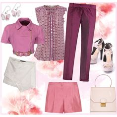 """Pinks"" by isbelse on Polyvore #IceCarats http://www.icecarats.com/Sterling-Silver-Pink-Shell-Butterfly-Earrings-325010.aspx"