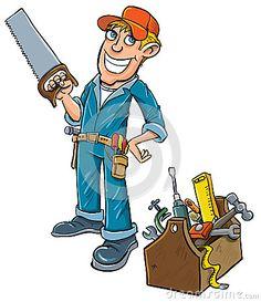Cartoon handyman with toolbox. by Anton Brand, via Dreamstime