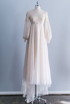 NEW LISTING 1960s Cream Bell Sleeves Chiffon Lace by ShopGossamer, $368.00