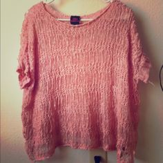 2b Bebe shredded sweater Mauve knit sweater, cropped, shredded & oversized..  Debating keeping, love this bebe Sweaters