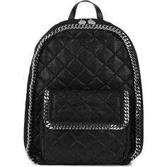 STELLA MCCARTNEY Falabella quilted faux-leather large backpack (32 205 UAH) ❤ liked on Polyvore featuring bags, backpacks, accessories, stuff, black, fake leather backpack, vegan bags, stella mccartney bag, vegan leather bags and vegan leather backpack