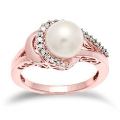 14k Rose Gold Pearl Ring, love rose gold | My Style | Pinterest