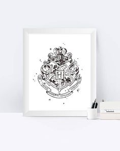 Hogwarts Crest Black and White Watercolor Hogwarts Crest Harry