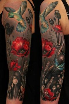Tattoo on the shoulder of the girl - poppy and hummingbirds