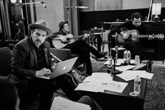 Daily Dose of Mumford and Sons #134 - MumsonFans.com - Elvis Costello, Taylor Goldsmith Of Dawes, And Marcus Mumford Of Mumford And Sons In The Studio For Lost On The River By The New Basement Tapes. Image © 2014 The New Basement Tapes