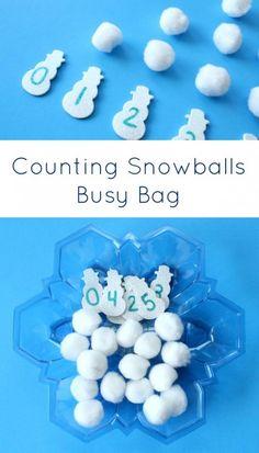 Counting Snowballs Busy Bag~Preschool and Kindergarten Winter Math Activity
