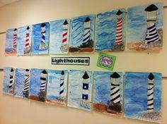 Apex Elementary Art Source by sarahjbb Classroom Art Projects, Art Classroom, 5th Grade Art, Grade 2, Lighthouse Art, Ecole Art, Canadian Art, Art Lessons Elementary, Teaching Art