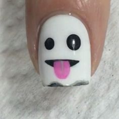 Ghost Emoji Halloween Nail Art Designs Read more at: Nail Art Halloween, Halloween Nail Designs, Holiday Nail Art, Fall Nail Art, Cute Nail Art, Nail Art Diy, Diy Nails, Cute Nails, Spooky Halloween