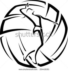 Girl volleyball player getting ready to spike the ball inside a stylized volleyball.  - stock vector
