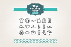 Hand drawn man clothing icons. Clothes Icons. $4.00