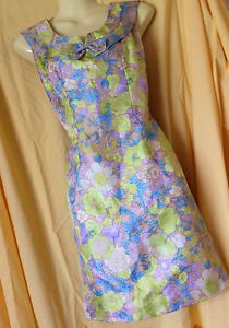 8 10 Vintage 1960s Neon Floral Psychedelic Mod Scooter GoGo Mini Shift Dress