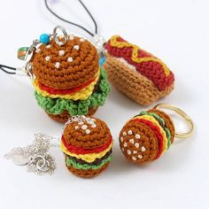Crochet Miniature Amigurumi Junk Food Jewelry by enna design, via Flickr.