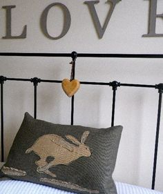 handprinted rustic hessian hare cushion cover by helkatdesign on Etsy