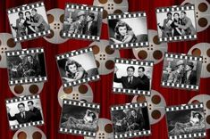 Party themes: hollywood black and white movie film clips on a red background Captain Jack Sparrow, Al Pacino, Sharon Stone, James Franco, Casino Royale, Casino Theme Parties, Party Themes, Casino Party, Movies To Watch
