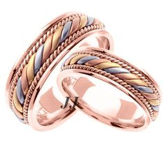 Tri Color Gold Hand Braided Wedding Band Set 7mm Tc 560cs
