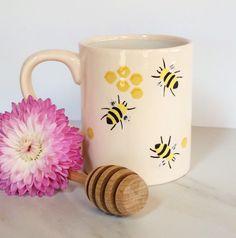 Coffee Cup - Ceramic Bee Mug - Pottery Mug -Bee Cup - Honeycombs Mug - Housewarming Gift - Coffee Lover Gift - Country Decor - Spring Decor by BigGrayHorse on Etsy