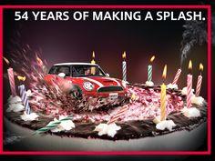 is Making a splash for 54 years! Mini Cooper Clubman, Mini Coopers, Mini Morris, Take The Cake, Small Cars, Mini Me, I Fall In Love, Birthday Candles, Happy Birthday