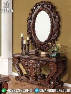 Tuscan design – Mediterranean Home Decor Entry Table With Mirror, Entrance Table, Wall Mirror, Victorian Furniture, Unique Furniture, Luxury Furniture, Foyer Decorating, Tuscan Decorating, Decorating Ideas