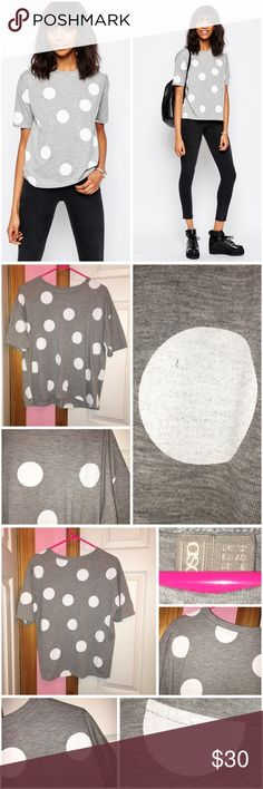 "🎉HP🎉 Oversized Polka Dot T-Shirt Never worn; just washed. Polka dot placement is bit different than the ASOS stock photos so please refer to the photos I took for how the polka dots are on the actual shirt. All over polka dot print. Round neckline. 71% polyester and 29% cotton. One little imperfection on the one dot as seen in the one photo. Please refer to measurements for fit: Laying flat approx 23"" in length, approx 45"" bust, and approx 42"" waist. ❌❌NO TRADES❌❌ ASOS Tops Tees - Short…"