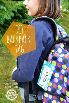 Back To School Backpack Tag – 5min duck tape craft - Never lose that backpack again! Click now!