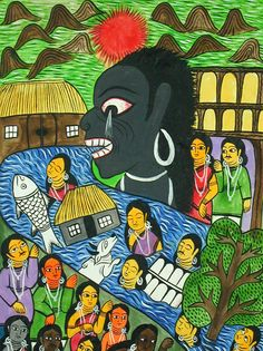 Tsunami - Bengali Scroll Paintings, Chitraker - Indigo Arts Gallery   Art from Asia   Indian Folk Painting 2c