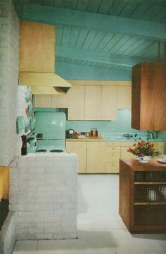 doe-c-doe: march 1955 living for young homemakers a mid century modern kitchen! Love the vent hood and brick!