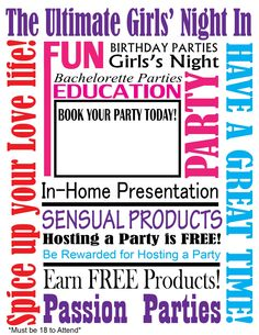 some reasons to why you should have a passion party :) Book your Passion Party with me today!