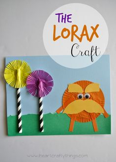 The Lorax Cupcake Liner Kids Craft to go with the classic Dr. Seuss book. Great craft for Dr. Seuss' birthday.